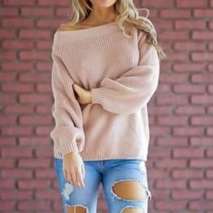 Sweaters - Pink bell sleeve sweater